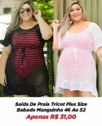 Título do anúncio: Saída Moda Praia/ Banho Tricot Feminina Pluz Size Top