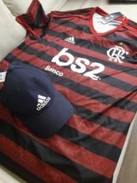 Camisa oficial flamengo autografada Zico+Boné adidas