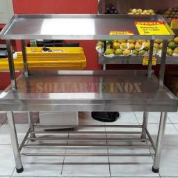 Título do anúncio: Bancada para Hortifruti em Aço Inox com 1 andar feito por medida 150x60x180