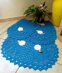 Jogo tapete banheiro de crochê