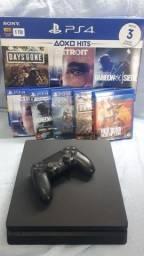 Título do anúncio: Playstation 4 Slim 1 TB com 5 Jogos Originais midia física