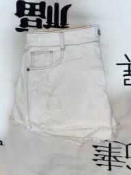 shot jeans branco cintura alta