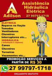 R$ 30 - Serviços Elétricos e Hidráulica em Geral atendimento 24 horas 894kxla