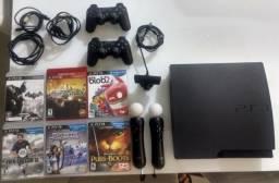 Playstation 3 PS3, com move e 6 jogos!