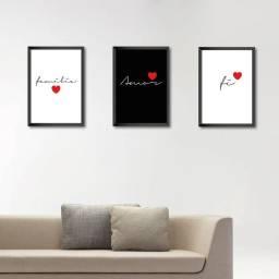Kit de 3 Quadros para Sala Família Amor e Fé
