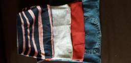 Kit três camisas e uma calça jeans T.44