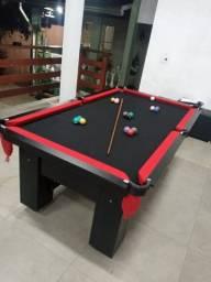 Mesa de Bilhar Charme Preta Tx Tecido Preto Bordas Vermelhas Modelo LJA4463