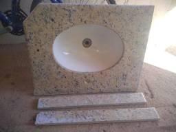 Pia de granito para banheiro com cub