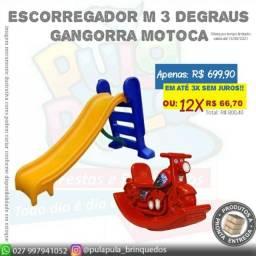 Kit Promocional: Escorregador M 3 Degraus + Motoca Vermelha