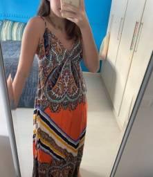 Vestido longo Estampado com fenda