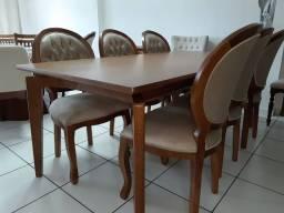 Mesa retangular modelo columbia+ 6 cadeiras medalhão