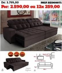 Grande Promoção em MS- Sofa Retratil e Reclinavel 2,80 em Veludo Molas Grande