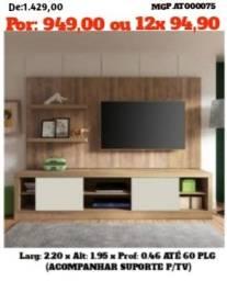 Painel de televisão com Rack- Painel de TV com Estante- LiquidMS