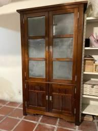 Armário estante cristaleira em madeira 2 portas com vidro