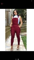 macacão longo suspensório Vermelho massala na moda