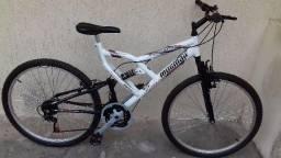 Bicicleta Mormaii Aro 26 Alumínio Full Suspensão Padang 24 Marchas Branca / Preta