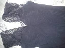 Vestido preto longo renda