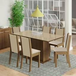 Conjunto De Mesa Com 6 Cadeiras Madesa Anis Rustic/ Crema/ Pérola - Bege Claro