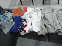 Jaqueta tec tel, camisetas, camisas, pijamas tamanho 10, 12 e 14