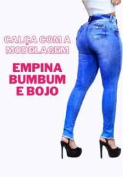 Calça jeans empina bumbum com bojo excelente caímento jeans premium com lycra