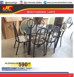 Mesa 1,40x70 com 6 cadeiras cc