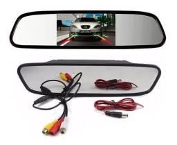 Espelho Retrovisor Monitor P/ Camera De Ré Colorido C/ Guias