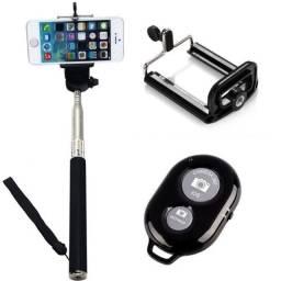 R$39,90 - Stick Bastão De Selfie Bastão Retrátil Com Controle Remoto