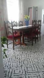 mesa 6 cadeiras almofadadas imbuia