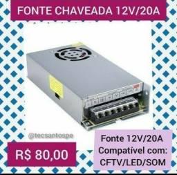 Fonte Chaveada 12v/20a 240w para som, CFTV e Led