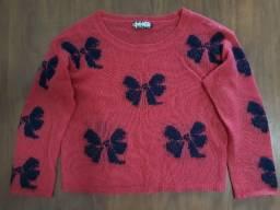 Blusa de frio de tricô rosa - Tamanho M