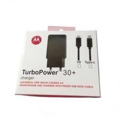 carregador turbo rapido com cabo micro v8 e tipo c  power 30