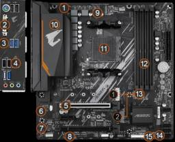 kit upgrade gamer Ryzen 5 3600 placa mãe B550 aorus elite soquete AM4 NOVO