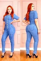 Macacão longo Jeans com lycra