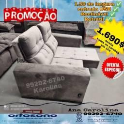 Sofa Retratil,Sofa REclinavel em veludo incar, com usb !!! 1.50 de largura