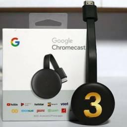 Chromecast 3, Original Google, 1080P, Smart, Wi-Fi, Novo, lacrado de Fábrica