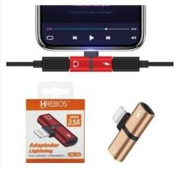 Adaptador Duplo iPhone 7 8 Plus X XR 11 12 Lightning Carga Áudio Fone