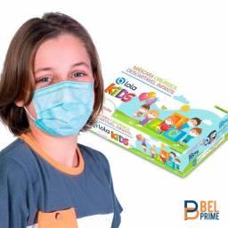 Máscara Cirúrgica Tripla Descartável Infantil Azul 25und