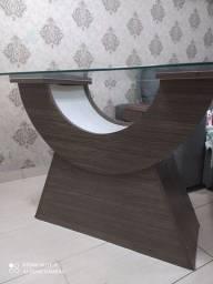 Mesa de jantar vidro temperado 6 cadeiras