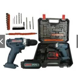 Furadeira Parafusadeira portatil Bateria Íon-lítio 12v + 30 Bits +kit
