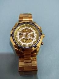 Relógio automático dourado luxo novo