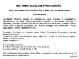 Instrutor Escola Programação e Robótica - Porto Alegre/RS
