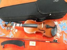 Violino Allegro 4/4 Seminovo acompanha case, arco, breu e ombreira