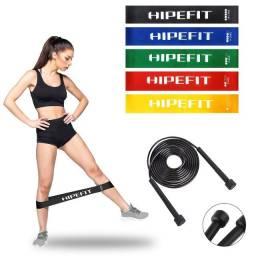 Corda De Pular Ajustável + Kit 5 Mini Band Elástico Exercício Academia Treino Funcional