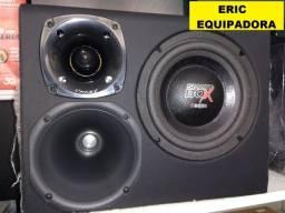 Caixa Amplificada Trio Da Boog  - 200W Sub 08? Corneta e Twitter + Cabos - Instalada