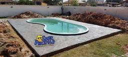 Título do anúncio: Piscina de fibra com deck de alvenaria de até 01 metro para cada lado da piscina