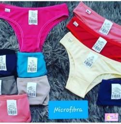 Kit 10 Calcinhas microfibra, Forro 100% algodão, preço de atacado lingerie roupas feminina