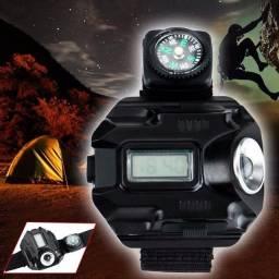Relógio Tatico Militar com Lanterna Super Led e Bússola