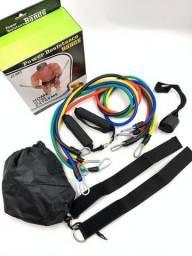 Título do anúncio: Kit Elástico Extensor 11 Peças Treinamento Pilates Fitness