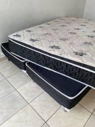 Título do anúncio:  Cama Box e colchão QUEEN Larflex authentic Molas Ensacadas e Pillow Top**(super luxo)**