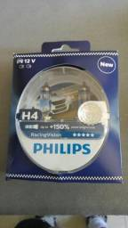 Lâmpada automotiva H4 (duas lâmpadas) super branca +150% PHILIPS Racing Vision Alemã